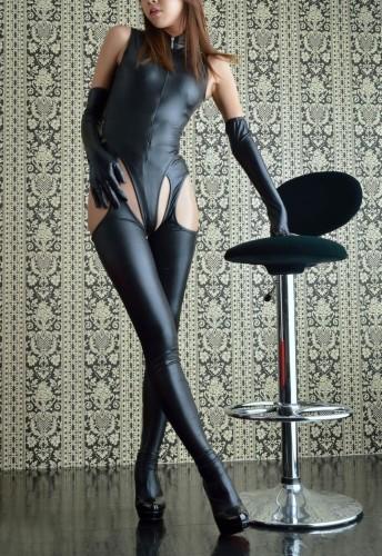 Ensemble de lingerie sexy en cuir noir 4PC
