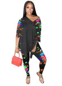 Casual bijpassende kleurrijke losse set van overhemd en strakke legging