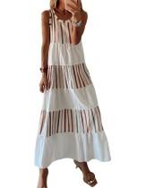 Sommer gestreiftes ärmelloses langes Boho-Kleid