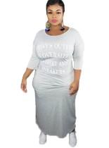 Plus Size Print O Neck Long Shirt Dress