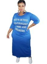 Plus Size Print O-Ausschnitt Langes Hemdkleid