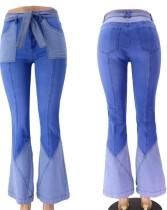 Calça jeans de patchwork de fundo de sino com cinto