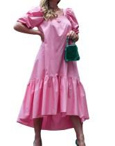 Sommerrosa High Low Square Vintage Langes Kleid