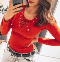 Camisa de malha de manga comprida de renda outono