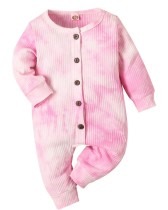 Baby Girl Autumn Tie Dye Button Up Strampler