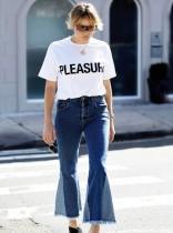 Calça jeans de patchwork com fundo de sino
