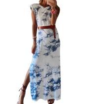 Vestido largo con abertura y efecto tie dye de verano con cinturón