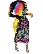 Herfst kleurrijke Afrikaanse midi-jurk met lange mouwen