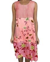 Vestido camisero boho sin mangas con estampado floral de verano