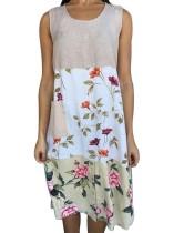 Sommer Kontrast Blumen ärmelloses Boho Shirt Kleid