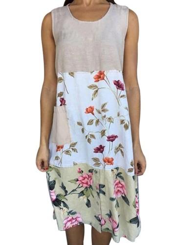 Yaz Kontrast Çiçekli Kolsuz Boho Gömlek Elbise