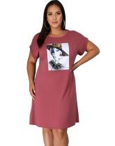 Plus Size Character Print O-Ausschnitt Hemdkleid