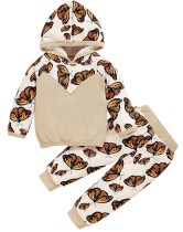 Kids Girl Autumn Zweiteiliger Butterfly Hoodie Trainingsanzug