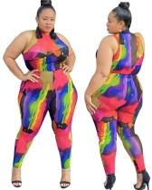 Plus Size Matching Colorful Top and Pants Set