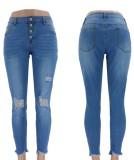 Western-Jeans mit hoher Taille und zerrissener Passform