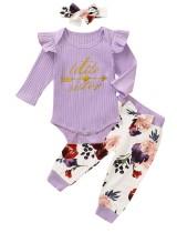 Baby Girl Autumn 3pc Print Hosen Set