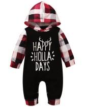 Mamelucos con capucha a cuadros de otoño para bebé niño