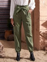Street Style Green High Waist Trousers with Belt