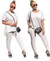 Summer Grey Matching Slit Shirt und Legging Set