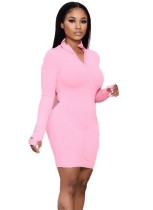 Autumn Solid Color Zipped Hoody Bodycon Dress
