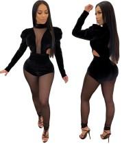 Combinaison moulante noire sexy à manches longues