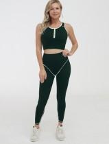 Sports Yoga Sleeveless Crop Top and High Waist Legging Set