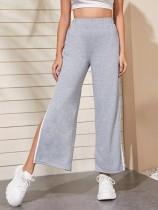 Reine graue Hose mit hoher Taille und Schlitz