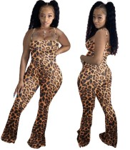 Bell Botton Sexy Leopard Halter Club mono