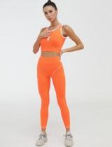 Conjunto de legging de cintura alta y top corto sin mangas de yoga deportivo