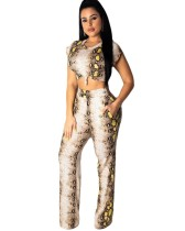 Summer African Matching Zweiteiliges Crop Top und Hosen Set