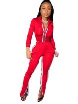 Autumn Matching Zipper Crop Top und Slit Zipper Pants Set