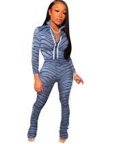 Herbst Zebradruck Reißverschluss Crop Top und Hosen Set