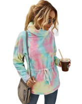 Autumn Tie Dye Turndown Collar Peplum Fleece Top