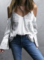 Print White Strap Loose Shirt with Long Sleeves