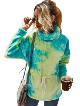 Top in pile peplo con colletto rovesciato autunno tie dye