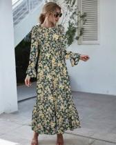 Осеннее платье макси с длинными рукавами и цветочным принтом