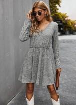 Sonbahar Uzun Kollu Sarılı Patenci Elbise
