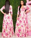 Maxi abito lungo avvolto floreale autunnale