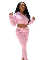 Herfst roze crop top en broek sweatsuit