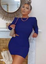 Sexy Plain Cut Out Long Sleeve Mini Club Dress