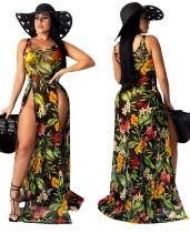 Vestido largo con abertura floral sin mangas sexy
