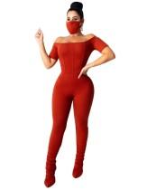 Combinaison empilée sexy à épaules dénudées avec couvre-visage