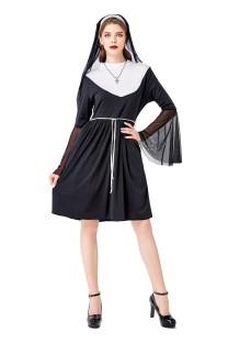 Fantasia de freira feminina de duas peças cosplay