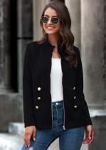 Autumn Regular Plain Zipper Jacke