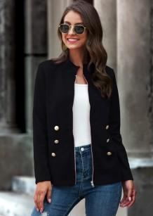 Jaqueta normal com zíper de outono