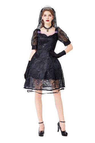 Cosplay Kadın Kraliçe Siyah Elbise