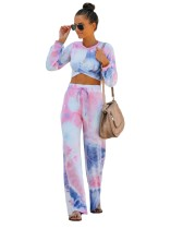 Autumn Tie Dye Crop Top und High Waist Pants Set