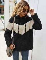 Herbst Kontrast Kontrast Fleece Hoody Shirt