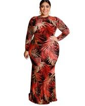Vestido de noite estilo sereia estampado plus size com mangas compridas
