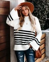 Herbst gestreifter Pullover mit lockerem O-Ausschnitt